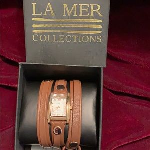 LA MER Brown leather wrap watch NWT